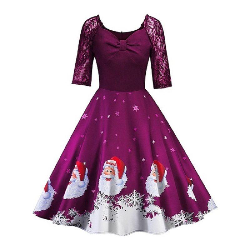 Gladiolus Newest Women Christmas Dress Three Quarter Sleeve Patchwork Lace Vintage Christmas Dress Spring Autumn Winter Dresses