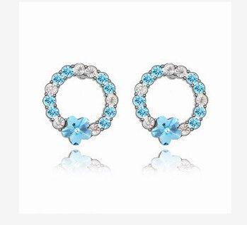 Noble baixo preço de alta qualidade mais cor de diamante de cristal jade 925 prata da senhora earigns 25.89fg