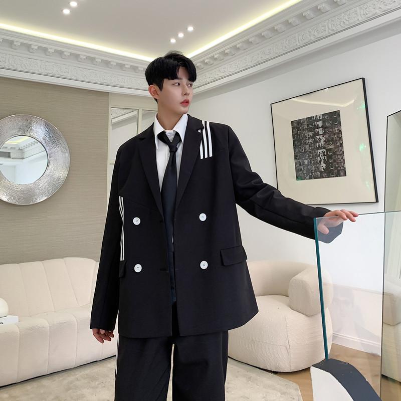 Men 2PCS Suits Sets Vintage College Style Casual Stripe Suit Jacket Trousers Male Streetwear Suit Coat Outerwear Pant