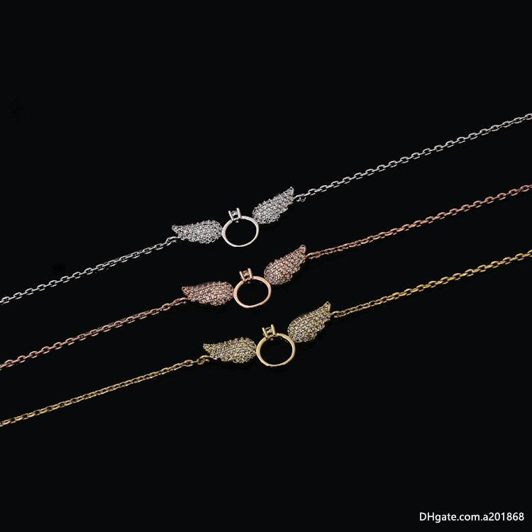 Nuova collana di rame di vendita calda con anello di diamante angelo ala