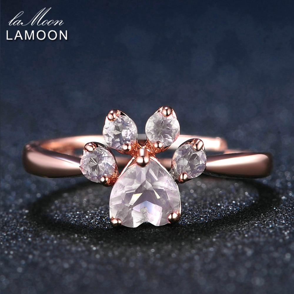 Lamoon Bear's Paw 5mm 100% Natural Pink Rose Quartz Adjustable Ring 925-sterling-silver Fine Jewelry For Women Wedding Ri027-2 S514