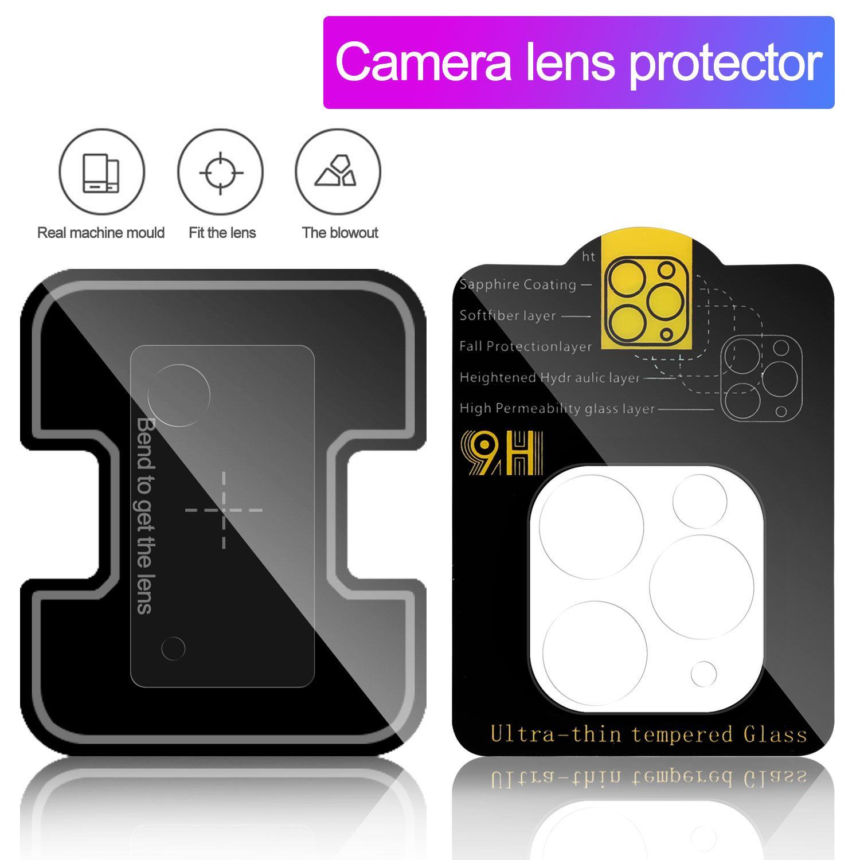 Caméra Film Verre trempé pour iPhone 11 Pro Max 12 Max Pro Samsung S20 Ultra caméra Objectif Protecteur d'écran PARFAITEMENT clair avec boîte au détail