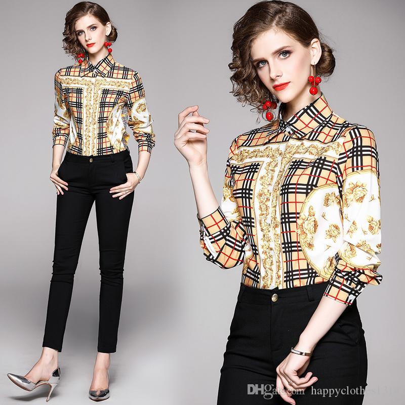 2020 женская мода печатных клетчатая рубашка плюс размер высокое качество с длинным рукавом взлетно-посадочной полосы дамы кнопка блузки повседневные офисные дизайнерские рубашки топы