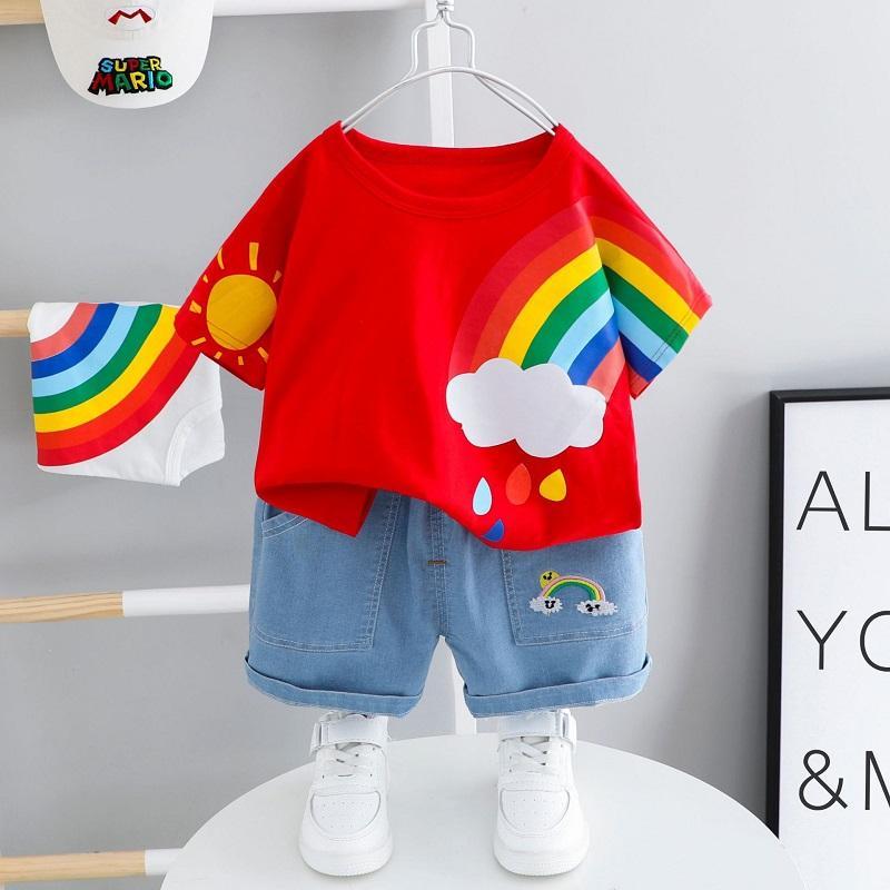 Verão Crianças recém-nascido Rapazes Meninas Roupa do arco-íris Roupa Crianças Suit infantil da criança T-shirt calças set Bebê Casual Treino 0-5