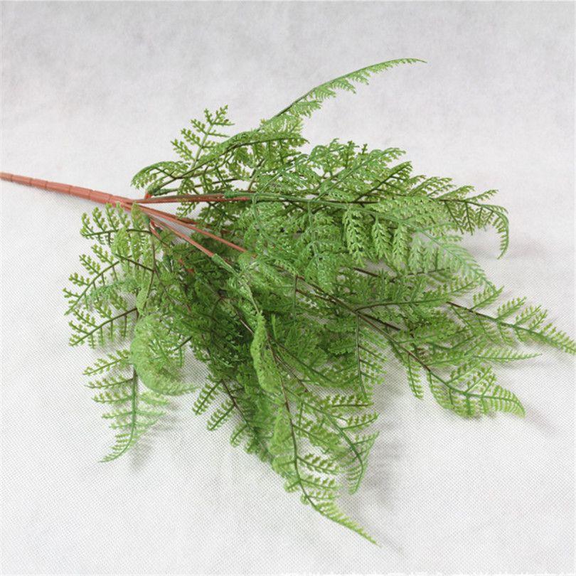 11 piezas artificial pegamento flexible vegetación planta Adiantum helechos verdes polastic para vegetación decoración de la pared arreglo floral