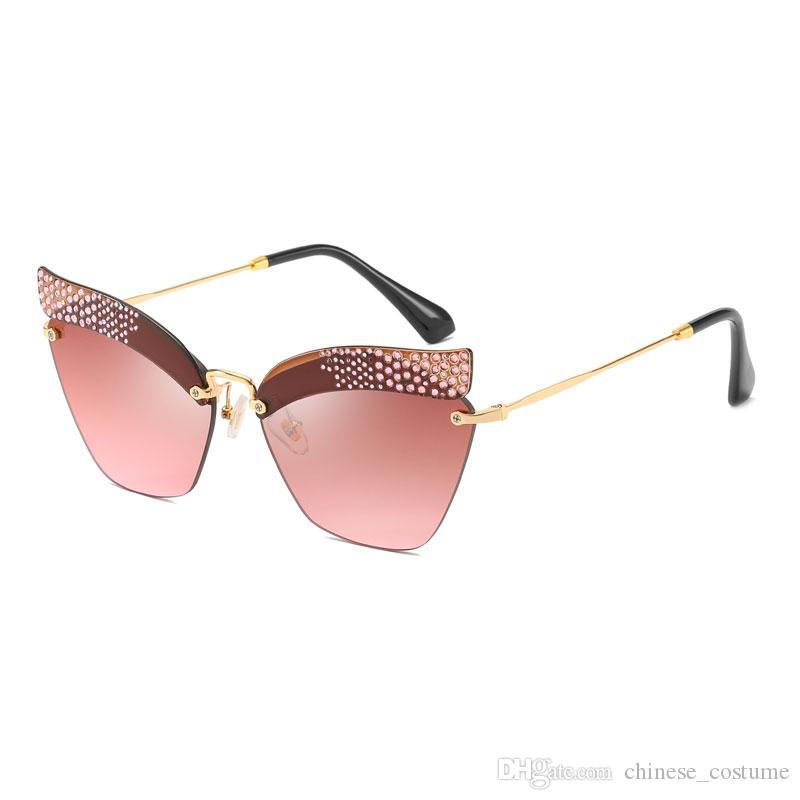 Women's Diamond Box Cat Eye Sunglasses Brand Designer Cat Eye Sunglasses Diamond Frameless Glasses Europe and America Women's Sunglasses