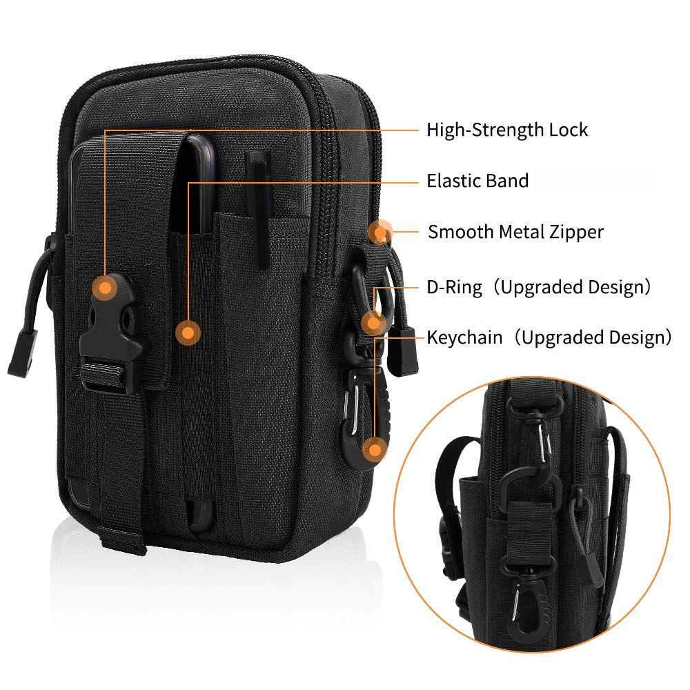 Sacchetto tattico Molle Pouch EDC Uomini cintura in vita Utility gadget Gear Tool Organizer tascabile con Cell Phone Holder Holster per Outdoor