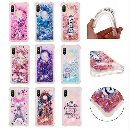 Stoßfester Eiffelturm Quicksand Weicher TPU-Fall für iPhone XR XS Max X 8 7 Samsung Galaxy S9 Plus Einhorn Bling Liquid Cover Eule