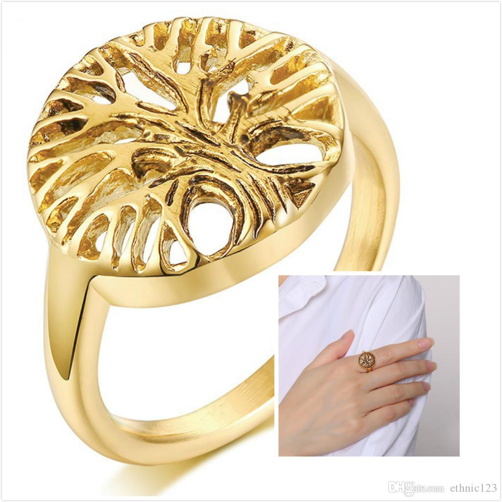 Can Mix Order Creative Lady's Rings Stainless Steel 18K Gold Plated Tree Ring Jewelry Gift for Women Girls J444