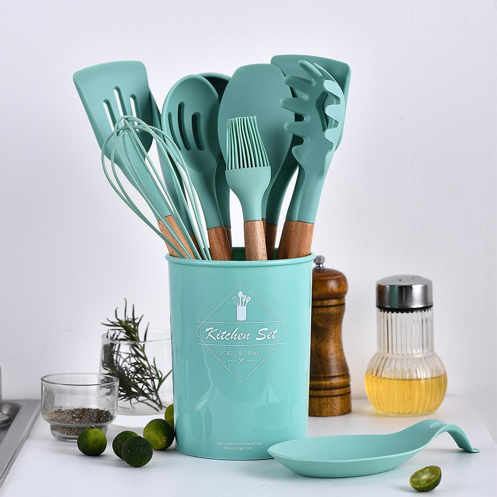 12 قطع أواني الطبخ سيليكون مجموعة غير عصا ملعقة مجرفة مقبض خشبي مع تخزين مربع المطبخ أدوات المطبخ
