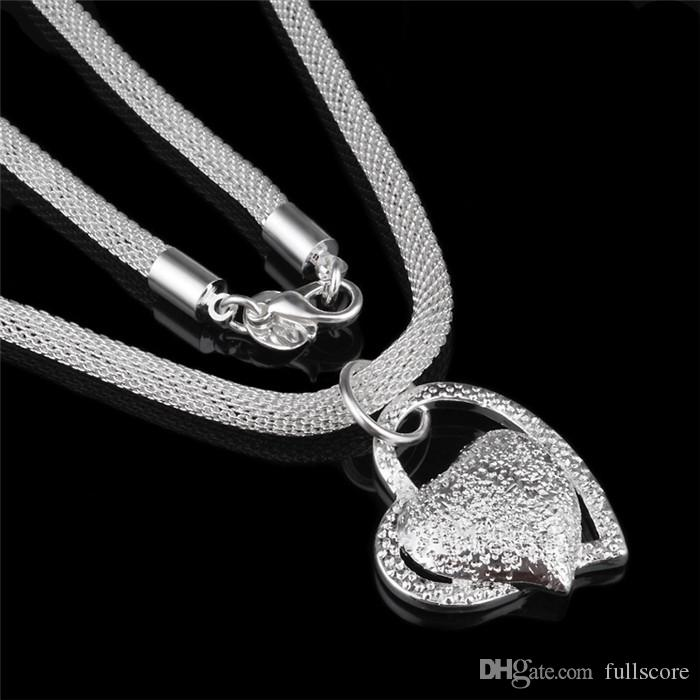 Silver Color Stainless Steel Heart Necklace Pendant For Woman Fashion Jewelry Double Heart Sliver Color Necklace