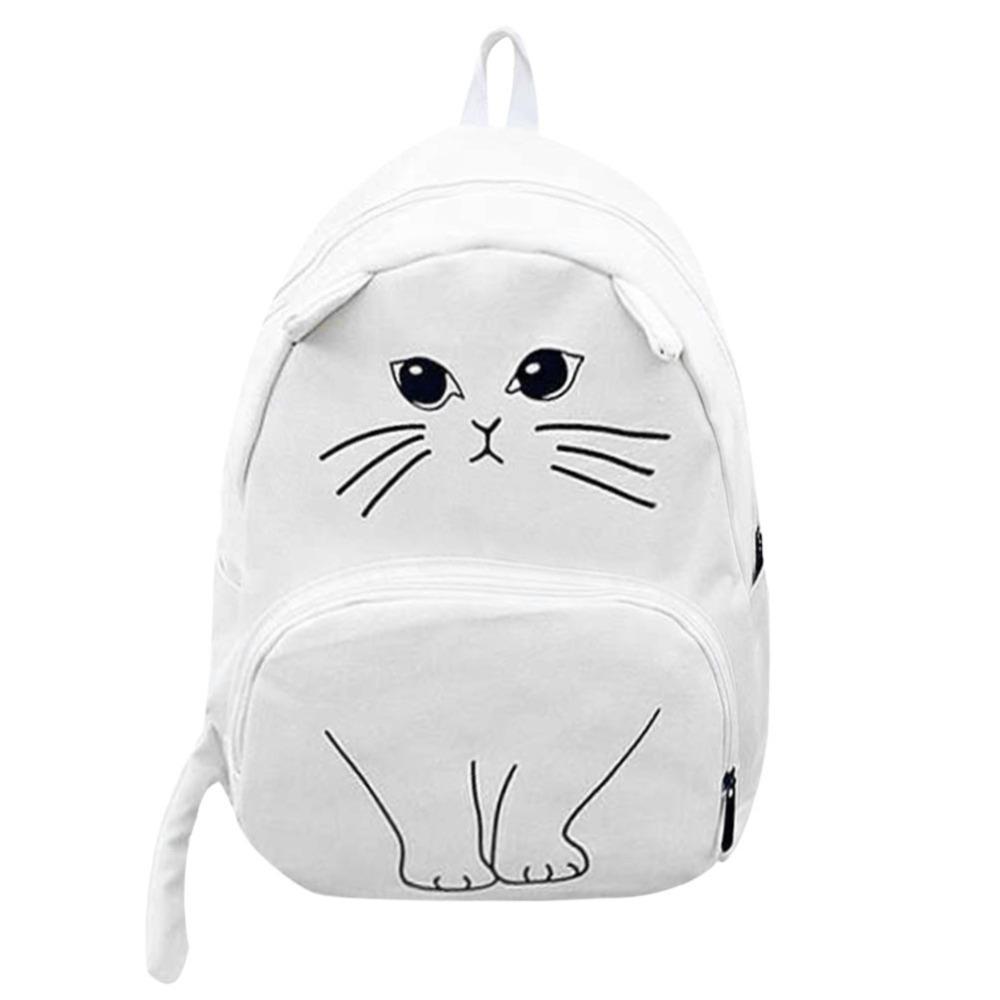 BEAU-Lovely Cat Printing Backpack Women Canvas School Backpack For Teenagers Ladies Casual Cute Rucksack Bookbags