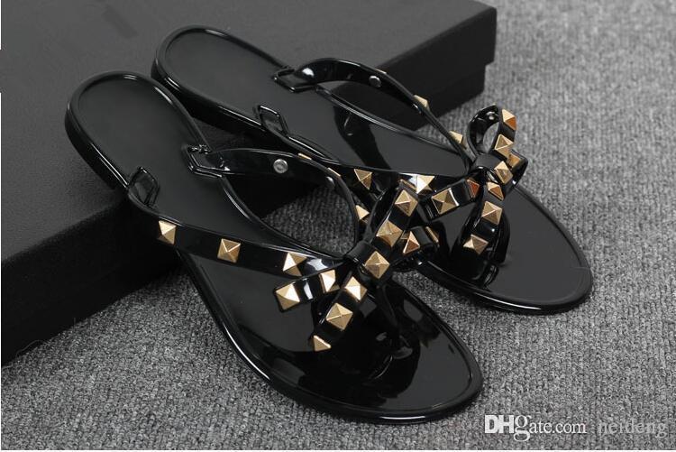 New 2017 Woman Summer Sandals Rivets big bowknot Flip Flops Beach Sandalias Femininas Flat Jelly Designer Sandals