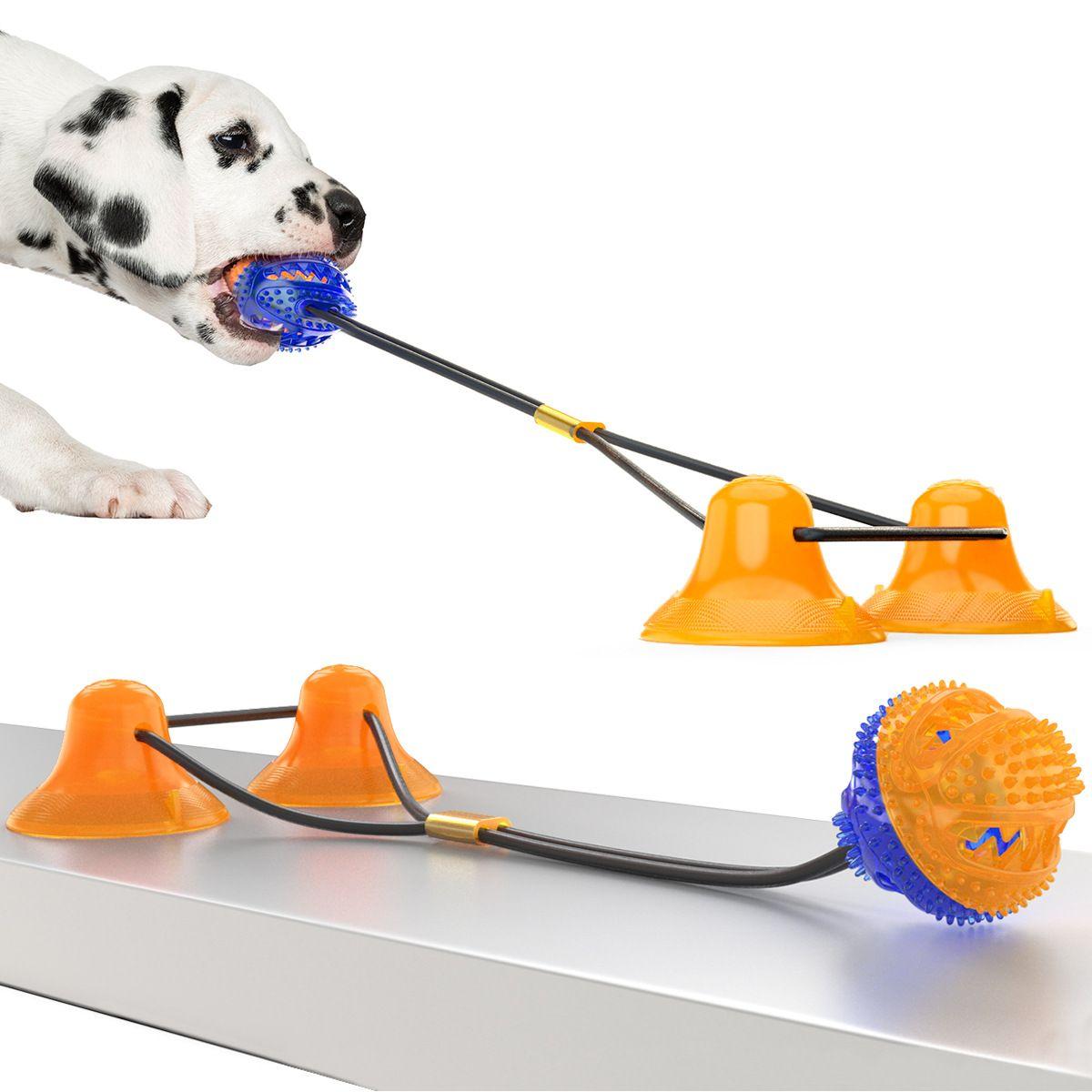 Tierzubehör Doppel Sucker Hundespielzeug Molaren Leakage beißfest Kugel Hundespielzeug Petmolar Aktivitäten Trainings Designer Hundeleine Supplies
