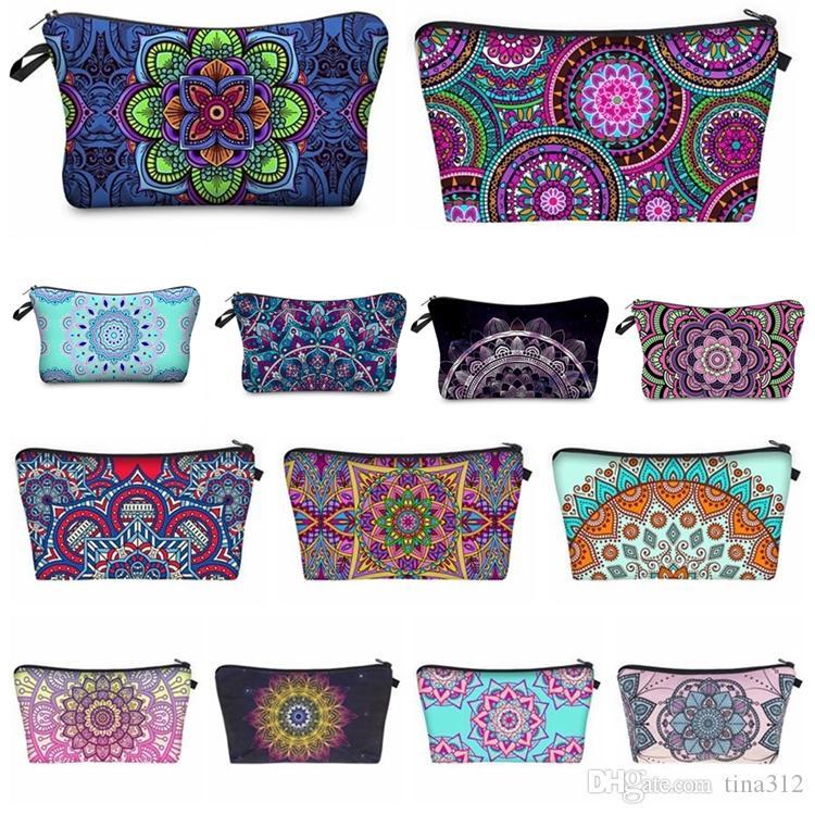 Bohemia Mandala Цветочного 3D Print Косметических сумок Женщина Путешествие Макияж Case Женщина сумка на молнию Косметического мешка цветка Печатной сумка 24colors F0132