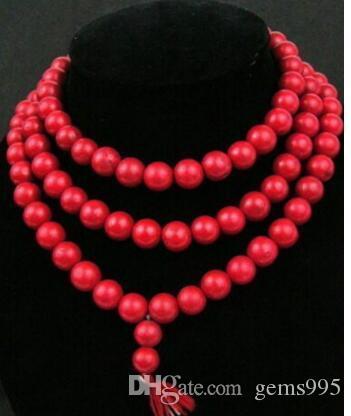 Free Shipping @@ 0948 ibetan buddista corallo rosso 8 millimetri di preghiera della collana di perline