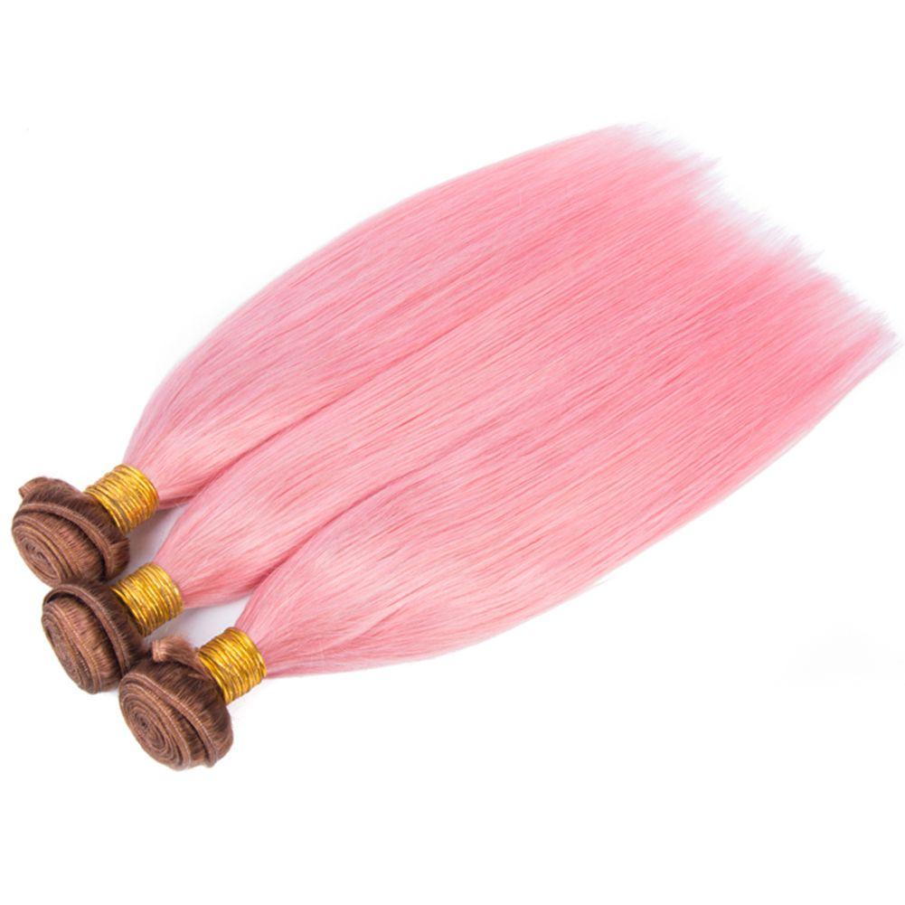 Raízes escuras de seda reta cabelo trama marrom de chocolate # 4 e extensões de cabelo rosa 10-30 polegadas marrom escuro e rosa brasileiro pacotes de cabelo virgem