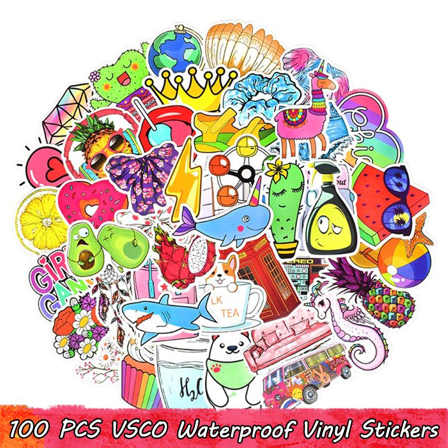 100 PCS VSCO Waterproof Vinyl Stickers Pack for Kids Girls to DIY Laptop Water Bottle Luggage Scrapbook Bike Car Guitar Decals Home Decor