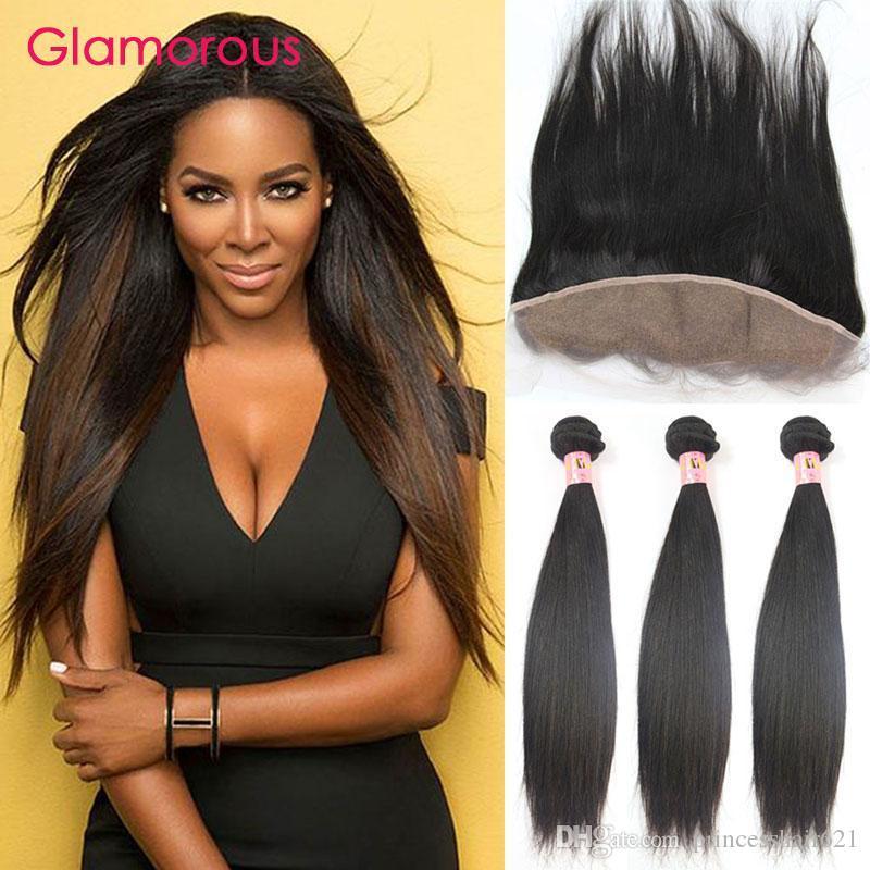 Glamorous retarda cabelo virgem com laço frontal barato brasileiro 4 pçs / lote peruano indiano malaio humano tecer com laço frontais