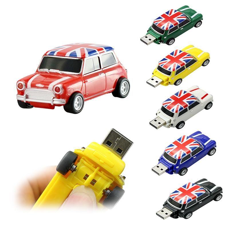 잉글랜드 미니 쿠퍼 자동차 개인화 Pendrive 32기가바이트 이동식의 USB 2.0 플래시 드라이브 4 16 32 64 128 8기가바이트 펜 드라이브 플라스틱 스틱 uk0001