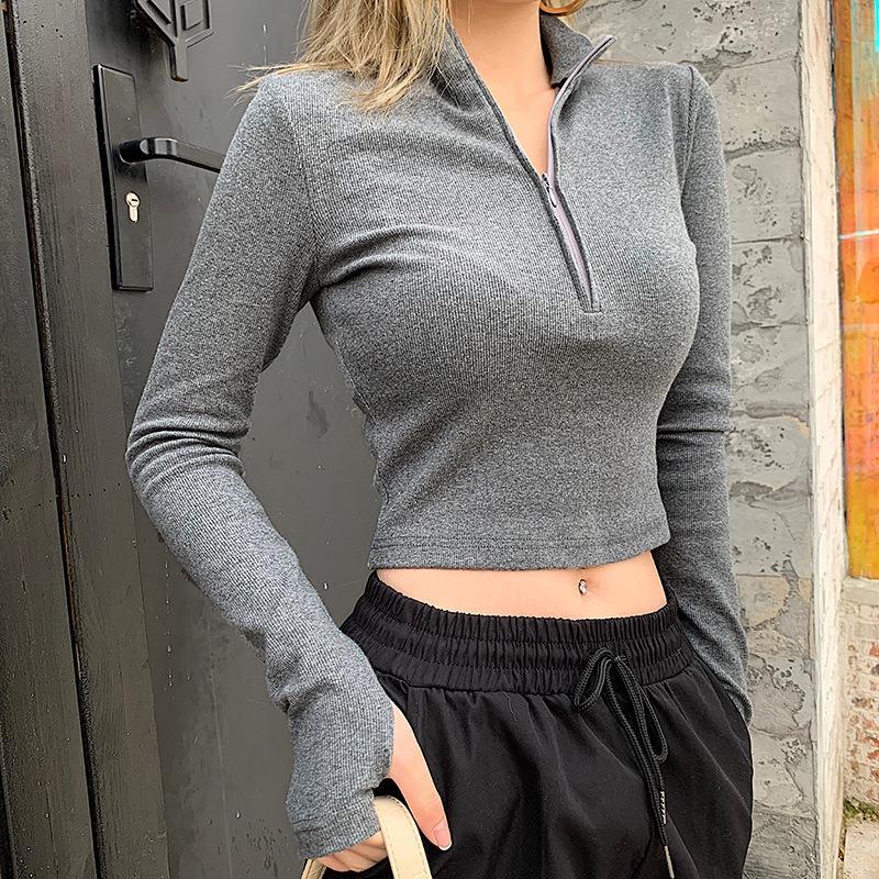 T-shirt 2020 primavera e no verão nova cor sólida All-jogo das mulheres zipper gola curta superior Cortar camisa apertada de mangas compridas