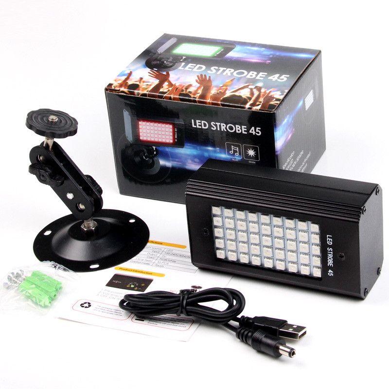 RGB 7 Couleurs 45 LED Stroboscopes Stroboscopes DJ Disco Son Activé Projecteur Flash Scène Scène Effet Lampe Party Light