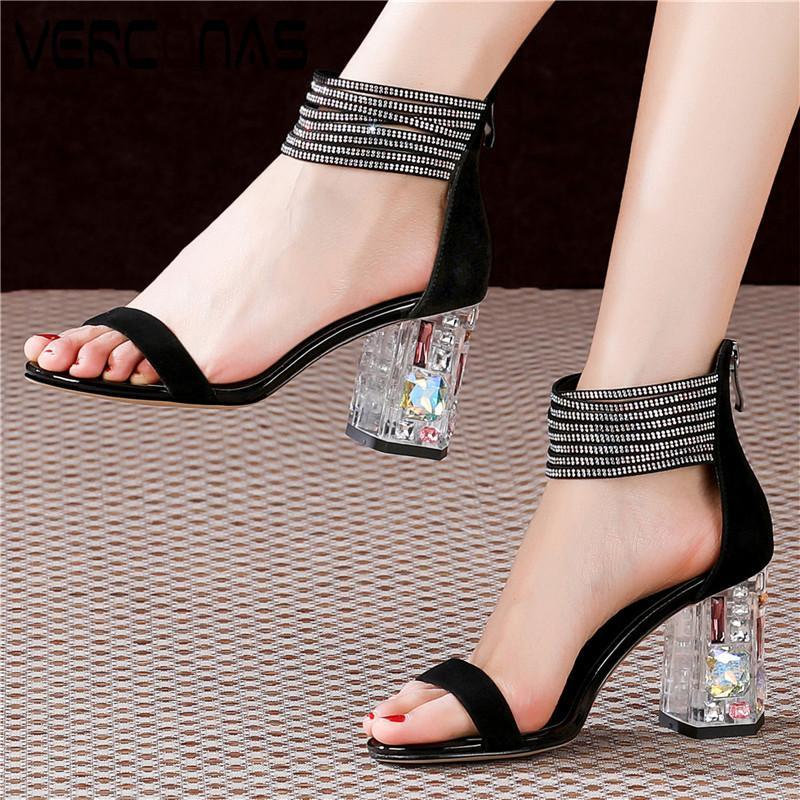 VERCONAS Mulheres Crystal Heel Pedrinhas Rodada Toe Voltar Zipper Concise Office Design Shoes Grosso sandálias de salto sapatos de mulher