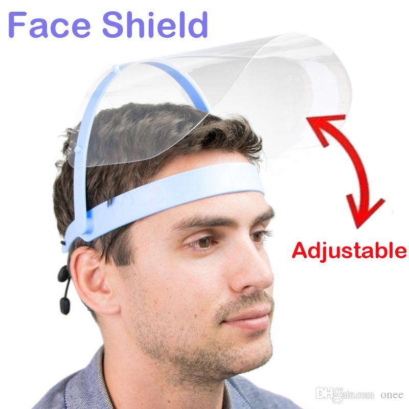 Máscara de escudo facial protectora transparente anti-niebla aislamiento transparente visera de protección completa impedir el arrastre de las gotitas de seguridad ajustable Reusabl