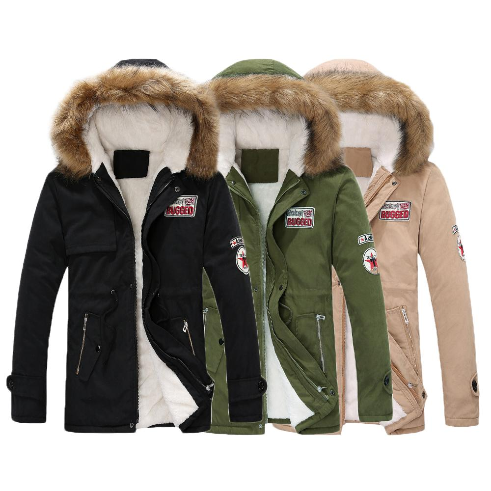 2018 Parka Men Coats 겨울 자켓 남성 슬림 Thicken Fur Hooded Outwear Warm Coat Clothing 캐주얼 Mens Coat Veste Homme 탑스 4XL