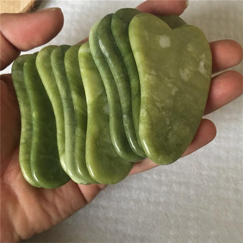JD010 Naturel Xiuyan Stone Green Jade Jade Guasha Gua Sha Board Massager pour la thérapie Scrapping Jade Roller