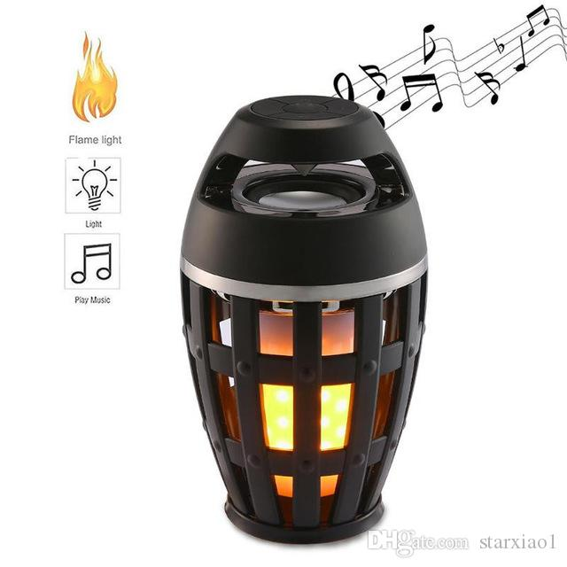 USB Led Flame Lights Bluetooth Speaker Outdoor Portable Led Flame Atmosphere Lamp Stereo Speaker Outdoor Camping Woofer For iphone XS Max PC