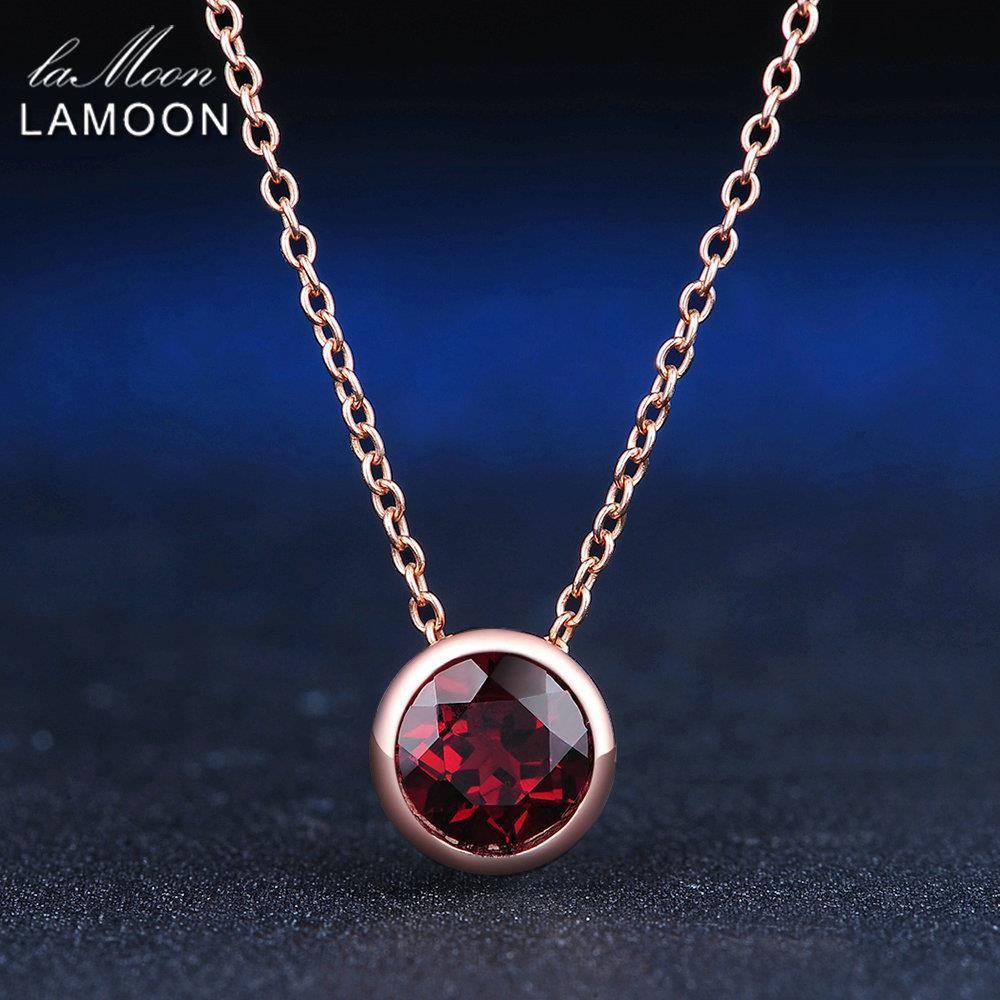 Lamoon 7mm 1.5ct natürlichen Edelstein roter Granat 925 Sterling Silber Schmuck einfache Kette Anhänger Halskette S925 Lmni002 J190706
