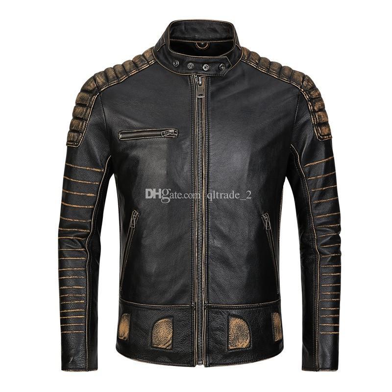 Vendita calda giacche di pelle AVIREXFLY slim fit vintage nero bovino pelle bovina colletto alla caviglia collo uomo lavato giacche moto