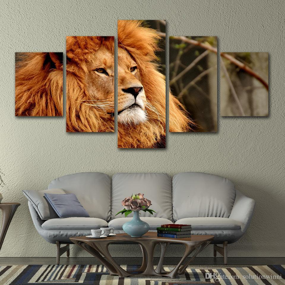 5 Piece canvas painting Lion Animal King HD Print pictures wall art Home Decoration For Living Room poster