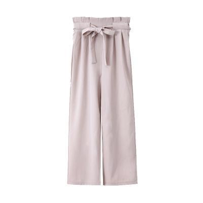 여성 캐주얼 솔리드 높은 허리 바지 봄 여름 통바지 느슨한 분할 여성 패션 새로운 의류