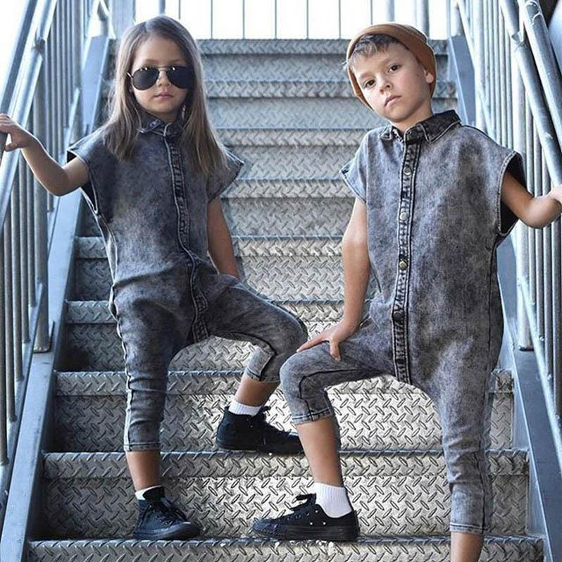 Ins 2020 nouveaux enfants de mode denim Combi-pantalons enfants été un morceau vêtements courts pantalons Combi-pantalons garçons filles manches B506