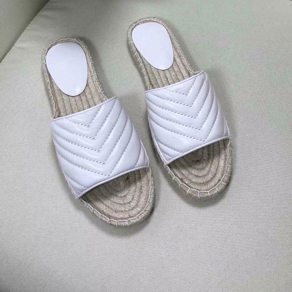 Nuovi pelle Donne Slipper Bianco espadrille Stripes paglia pescatore Sandali con due tonalità di tela di canapa della spiaggia all'aperto spessi sandali con scatola