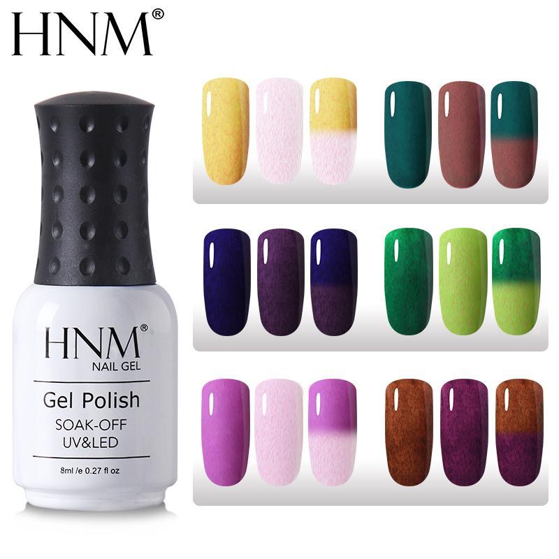 HNM 8ML Fax Fur Thermal LED Nail Polish New Color Change Semi Permanent Top Base Enamel Hybrid Varnish Primer Stamping Gelpolish