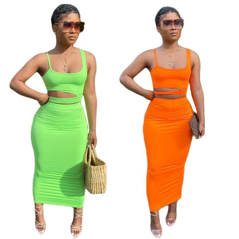 Plus Size 3X estate donne vestito di vestito di colore solido due pezzi gilet reggiseno scenografo maniche giubbotto crop top + moda Vestito aderente + vestiti 3104