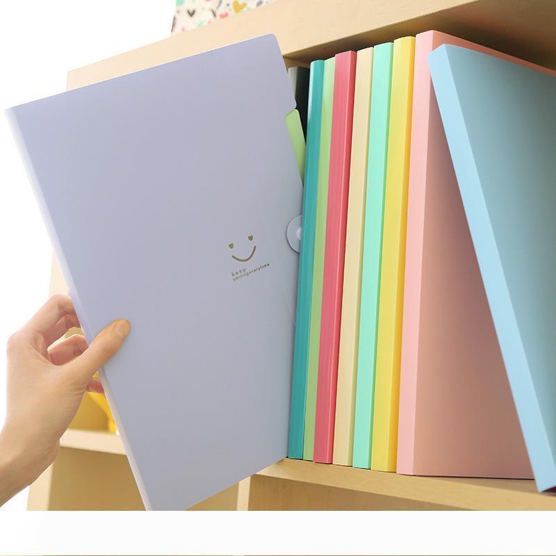 B New 4 Farbe A4 Kawaii carpetas Filing Supplies Lächeln Wasserdichtes File Folder 5 Schichten Dokumententasche Büro-Briefpapier