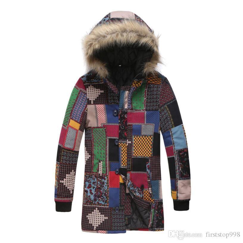 Фабрика мода мужская ветровка пальто цена куртки куртки этнические стиль дизайнер одежда открытый длинный воротник мех с капюшоном мужская парка Ehlis