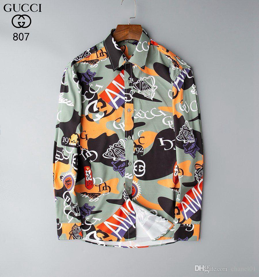 Hommes luxe Chemises Bees mode brodé robe à manches longues Chemises Marque classique Turn Down Neck affaires Tops107