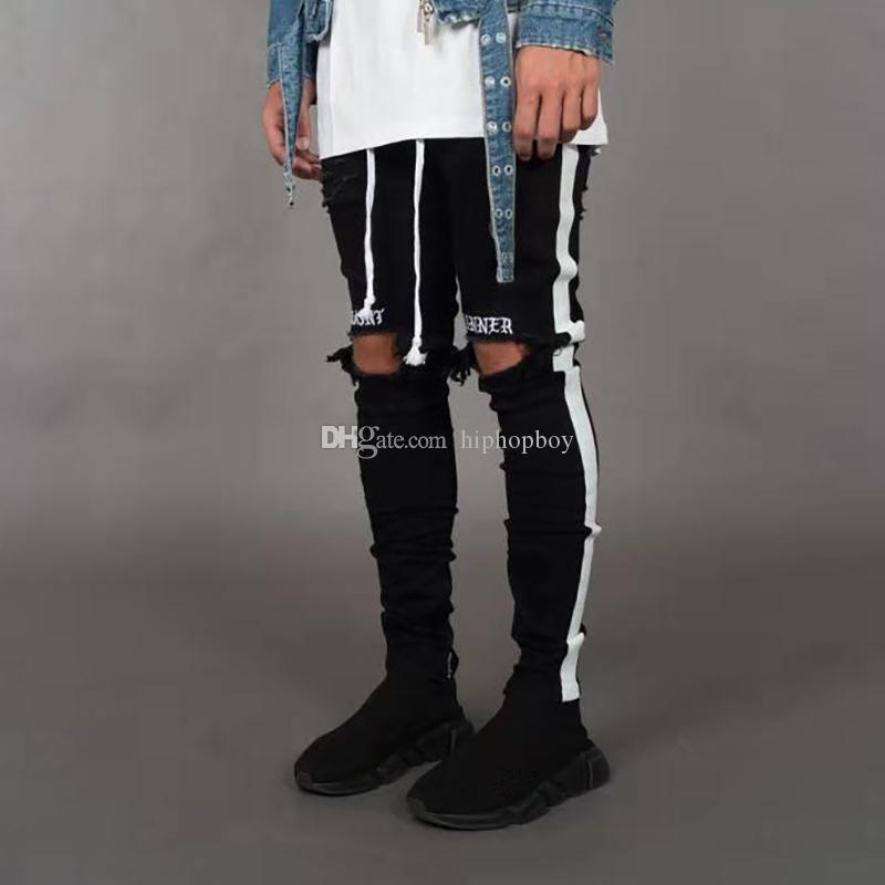 Новые мужские стилисты джинсы мужские повседневные брюки высокого качества мужской хип-хоп стиль джинсы черный белый
