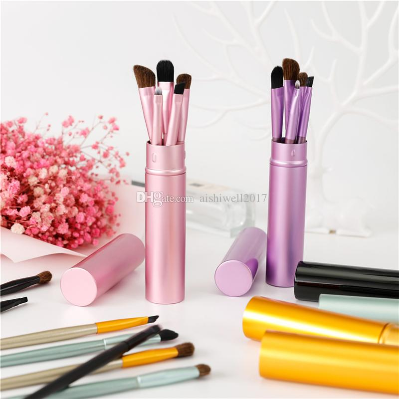 5 pcs Maquiagem Pincéis de Viagem Portátil Mini Eye Makeup Brushes Set Reals Sombra Delineador Sobrancelha Escova Lábio Make Up Brushes kit