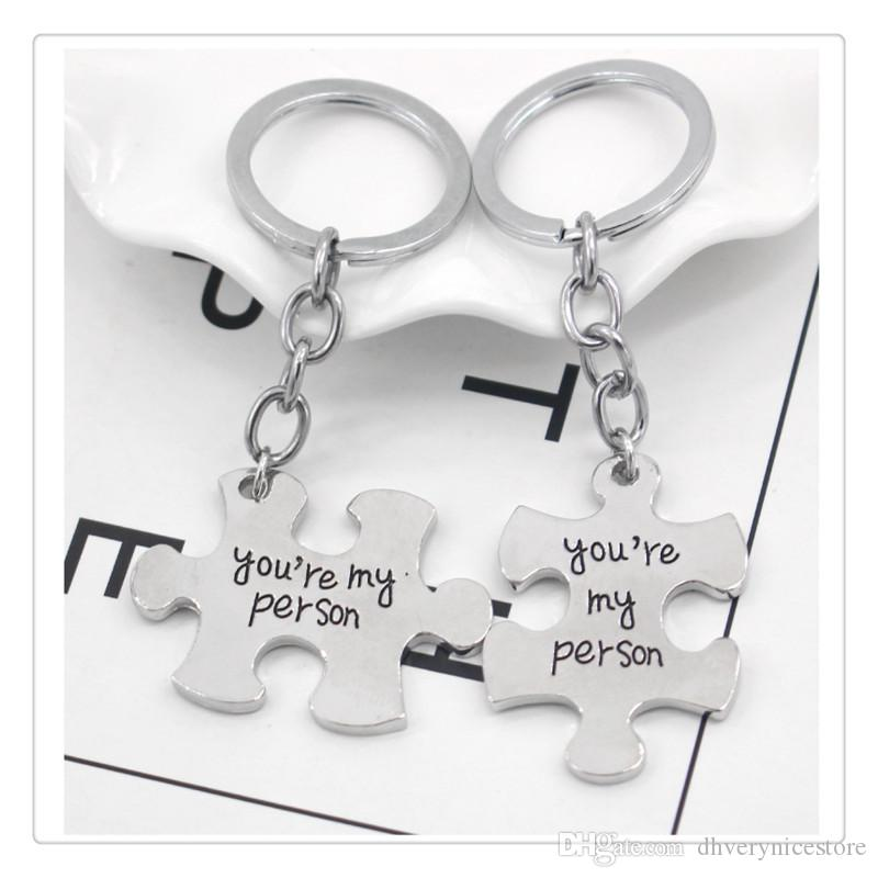 Funny Couple Keychain Toy 2 Pcs Set Puzzle Toys Accessories For Lovers Ring Holder For Children