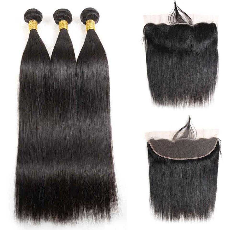 13x4 Pizzo frontale Chiusura con 3 pacchi di colore naturale brasiliano Virgin diritto dei capelli Bundle con seta Frontale chiusura
