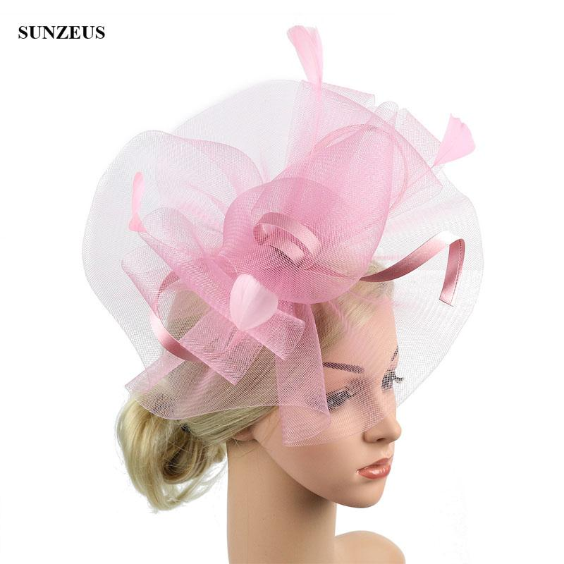 Pink Tulle Bridal Party Hats With Feathers 2019 New Wedding Headdress ozdoby do wlosow slub SQ042