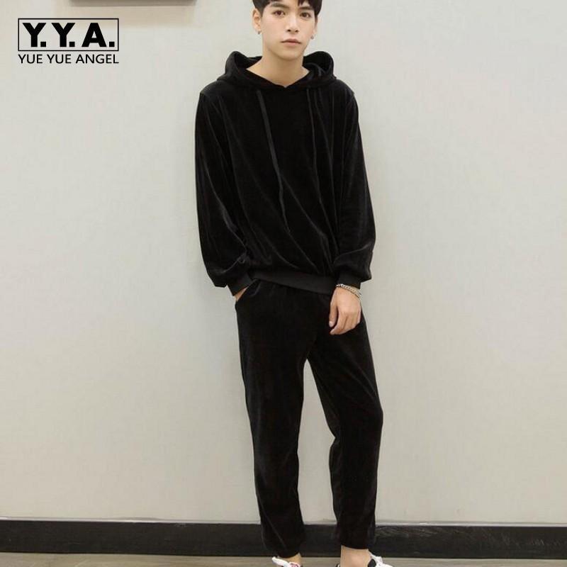 Yeni Moda Erkek Kış Kadife Isınma Eşofman Siyah Hoodie Sweatshirt + Sweatpants Setleri Casual Eşofman Büyük Beden S-5XL Suit