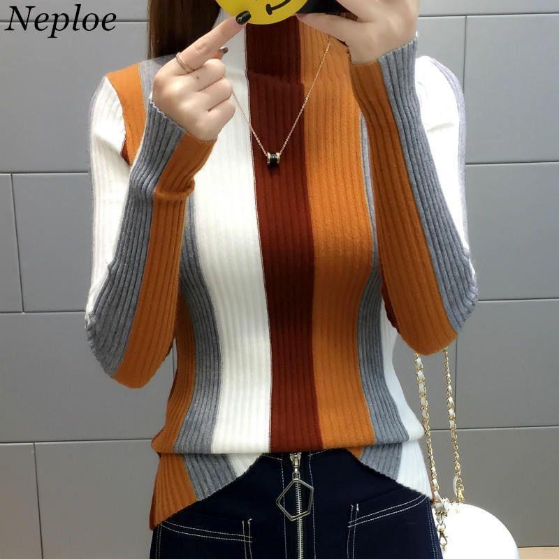 Neploe Радуга Stripe свитер Contrast Вязаная пуловер 2019 с длинным рукавом Водолазка Трикотаж Мода Тонкий Женщины Перемычка 34381 LY191225