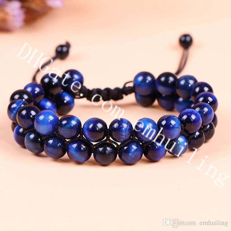 10Pcs Men Women 8mm Smooth Blue Tiger Eye Gemstone Beads Macrame Bracelet Braided Rope 2 Row Natural Stone Yoga Adjustable Bracelet Armband